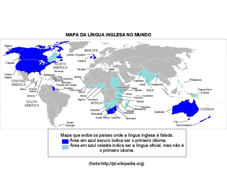 Mapa Da Lingua Inglesa No Mundo Ingles